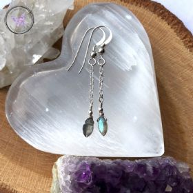 Labradorite Dangle Earrings with Sterling Silver